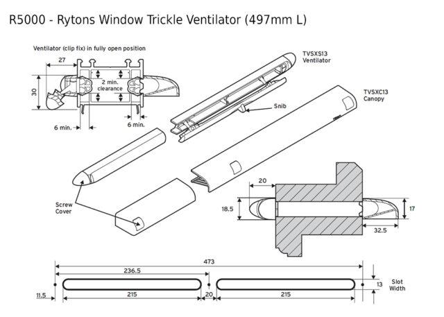 R5000 Rytons Window Trickle Ventilator 497mm L