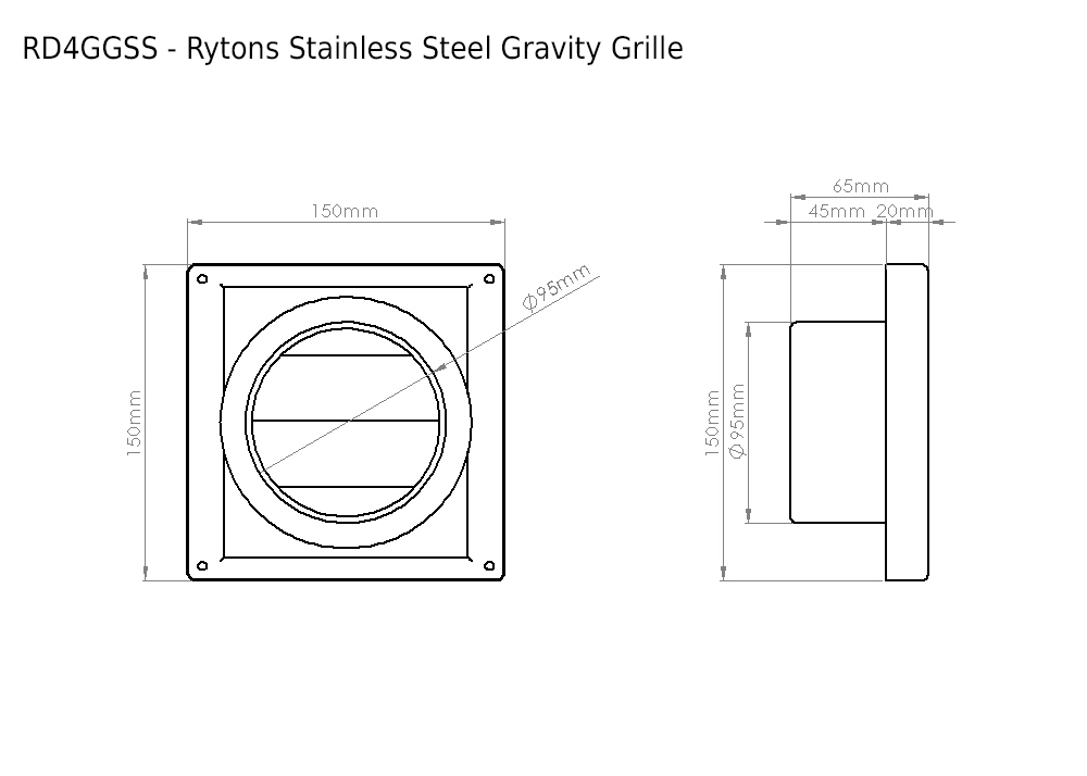 Rd4ggss Rytons Stainless Steel Gravity Grille 100mm Dia