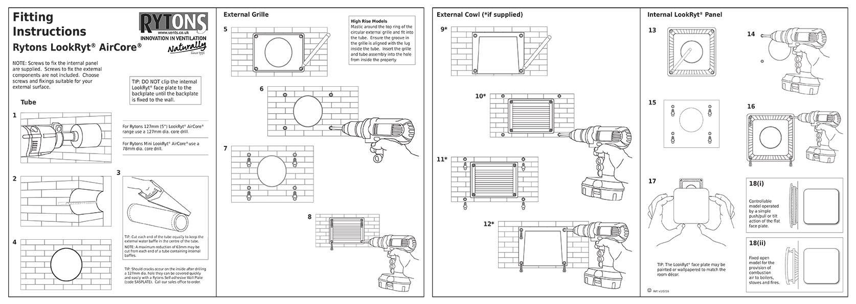 rytons lookryt aircore fitting instruction sheet